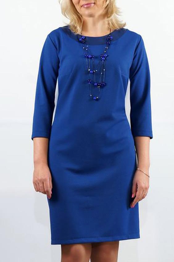 ПлатьеПлатья<br>Трикотажное платье прилегающего силуэта с отделкой из кожи. Перед с нагрудной вытачкой из бокового шва. Спинка с продольной вставкой из кожи вдоль среднего шва. Горловина округлая с двойными кокетками из кожи по спинке и переду. Рукава втачные, умеренной ширины, длиной 3/4.  Длина изделия:  до 48 размера - 88,0 см; 50-56 размера – 95,0 см.  Цвет: синий  Ростовка изделия 170 см.<br><br>Горловина: С- горловина<br>По длине: До колена<br>По материалу: Вискоза,Трикотаж<br>По образу: Город,Свидание<br>По рисунку: Однотонные<br>По силуэту: Приталенные<br>По стилю: Повседневный стиль<br>По форме: Платье - футляр<br>По элементам: С кожаными вставками,С открытой спиной<br>Рукав: Рукав три четверти<br>По сезону: Осень,Весна<br>Размер : 46,48,50,52,54,56<br>Материал: Трикотаж + Искусственная кожа<br>Количество в наличии: 6