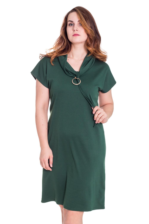 ПлатьеПлатья<br>Красивое платье с короткими рукавами и интересным воротником. Модель выполнена из плотного трикотажа. Отличный выбор для повседневного гардероба.  Цвет: зеленый  Рост девушки-фотомодели 180 см.<br><br>По образу: Свидание,Город,Офис<br>По стилю: Офисный стиль,Повседневный стиль<br>По материалу: Трикотаж<br>По рисунку: Однотонные<br>По сезону: Весна,Осень<br>По силуэту: Полуприталенные<br>По элементам: С декором<br>По форме: Платье - трапеция<br>По длине: До колена<br>Воротник: Хомут<br>Рукав: Короткий рукав<br>Размер: 48,50,52,54<br>Материал: 100% полиэстер<br>Количество в наличии: 2