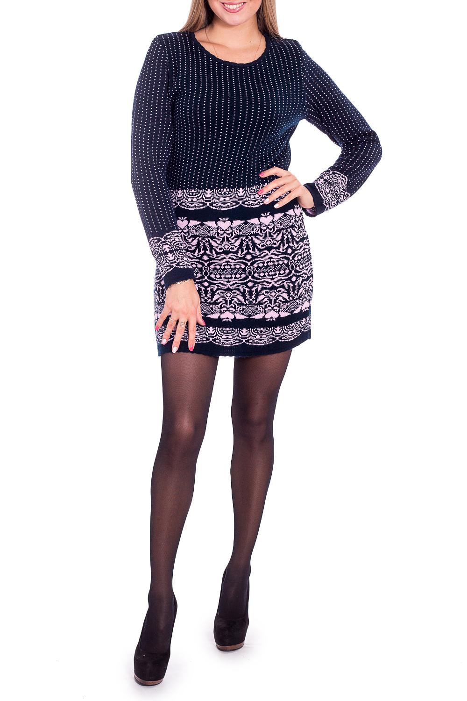 ПлатьеПлатья<br>Теплое платье с длинными рукавами. Вязаный трикотаж - это красота, тепло и комфорт. В вязаных вещах очень легко оставаться женственной и в то же время не замёрзнуть.  В изделии использованы цвета: темно-синий, розовый  Рост девушки-фотомодели 170 см<br><br>Горловина: С- горловина<br>По длине: До колена<br>По материалу: Вязаные,Трикотаж<br>По рисунку: С принтом,Цветные<br>По силуэту: Приталенные<br>По стилю: Повседневный стиль<br>По форме: Платье - футляр<br>Рукав: Длинный рукав<br>По сезону: Зима<br>Размер : 44<br>Материал: Вязаное полотно<br>Количество в наличии: 1