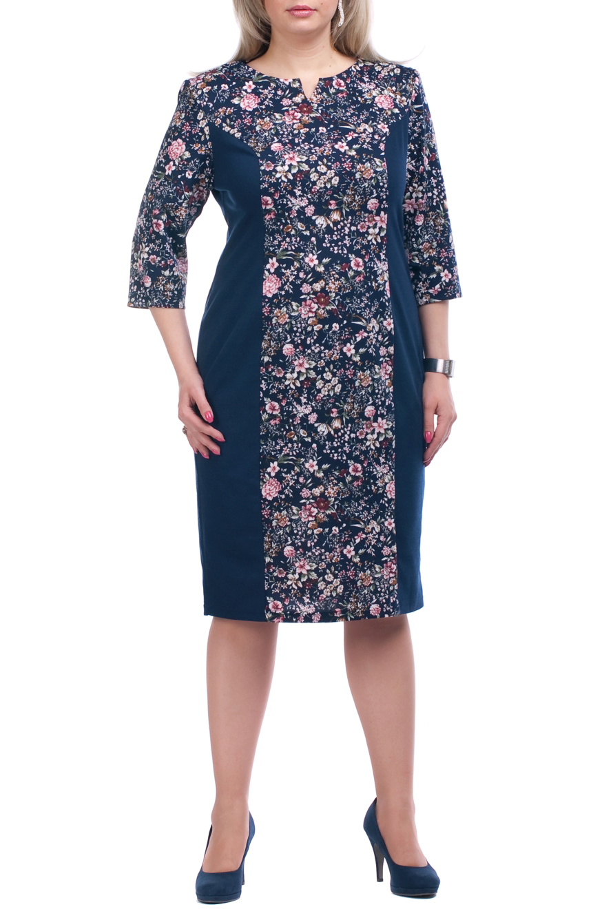 ПлатьеПлатья<br>Повседневное платье с фигурной горловиной и рукавами 3/4. Модель выполнена из плотного трикотажа. Отличный выбор для повседневного гардероба.  Цвет: синий, розовый  Рост девушки-фотомодели 173 см.<br><br>По образу: Город,Свидание<br>По стилю: Повседневный стиль<br>По материалу: Вискоза,Трикотаж<br>По рисунку: Растительные мотивы,Цветные,Цветочные<br>По сезону: Весна,Осень<br>По силуэту: Полуприталенные<br>По форме: Платье - футляр<br>По длине: Ниже колена<br>Рукав: Рукав три четверти<br>Горловина: V- горловина,С- горловина<br>Размер: 52,54,56,58,62,64,66,68,70,60<br>Материал: 53% вискоза 42% полиэстер 5% эластан<br>Количество в наличии: 8