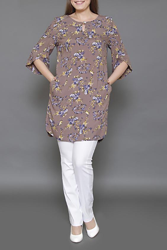 Платье-туникаТуники<br>Женская туника, прямого силуэта. Отличное сочетание легкой хлопковой ткани, яркого рисунка - позволит создать прекрасный образ в жаркую погоду. Несмотря на покрой прямого силуэта, данная модель просто создана для того, чтобы подчеркнуть стройность фигуры. Как туника отлично сочетается с лосинами и узкими брюками, для любительниц коротких моделей станет отличным платьем.   Длина по середине спинки составляет 90 см  Цвет: бежевый, синий, желтый  Длина изделия 55 см.  Ростовка изделия 164 см.<br><br>Горловина: С- горловина<br>По материалу: Тканевые,Хлопок<br>По рисунку: Растительные мотивы,С принтом,Цветные,Цветочные<br>По силуэту: Полуприталенные<br>По стилю: Повседневный стиль<br>Рукав: Рукав три четверти<br>По сезону: Осень,Весна<br>Размер : 44,46,48,50,52<br>Материал: Плательная ткань<br>Количество в наличии: 12