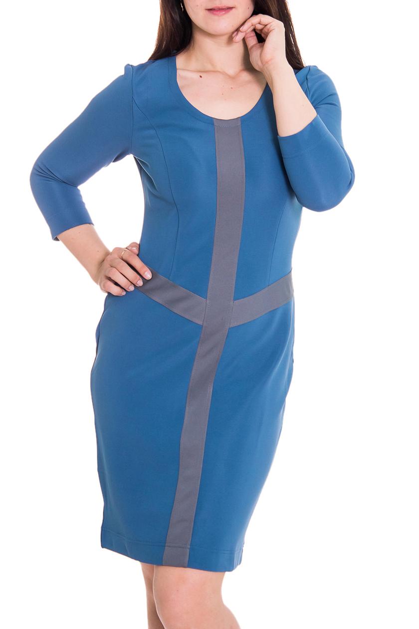 ПлатьеПлатья<br>Женское платье с круглой горловиной и рукавами 3/4. Модель выполнена из приятного материала. Отличный выбор для повседневного гардероба.  Цвет: голубой, серый  Рост девушки-фотомодели 180 см<br><br>Горловина: С- горловина<br>По длине: До колена<br>По материалу: Трикотаж<br>По рисунку: Цветные<br>По сезону: Весна,Осень,Зима<br>По стилю: Повседневный стиль,Офисный стиль<br>По форме: Платье - футляр<br>Рукав: Рукав три четверти<br>По силуэту: Приталенные<br>Размер : 44,46,48<br>Материал: Джерси<br>Количество в наличии: 6