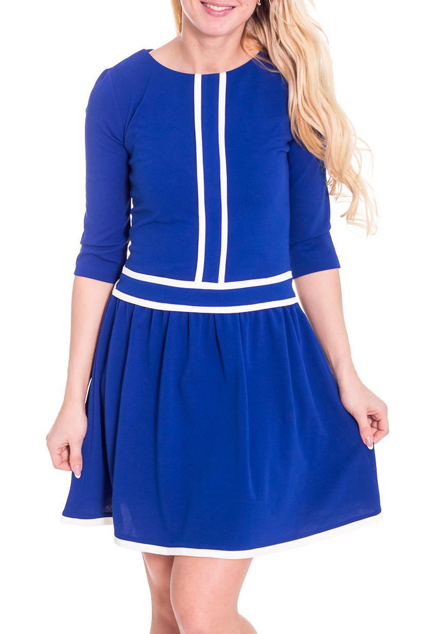 ПлатьеПлатья<br>Красивое платье с контрастным декором. Модель выполнена из приятного материала. Отличный выбор для повседневного гардероба.  Просим учесть, что изделие маломерит на один размер.  Цвет: синий, белый  Рост девушки-фотомодели 170 см.<br><br>Горловина: С- горловина<br>По длине: До колена<br>По материалу: Вискоза,Костюмные ткани,Тканевые<br>По рисунку: Цветные<br>По сезону: Весна,Осень,Зима<br>По силуэту: Полуприталенные<br>По стилю: Офисный стиль,Повседневный стиль<br>По форме: Платье - трапеция<br>По элементам: С декором<br>Рукав: Рукав три четверти<br>Размер : 42,44,46,48<br>Материал: Костюмно-плательная ткань<br>Количество в наличии: 4