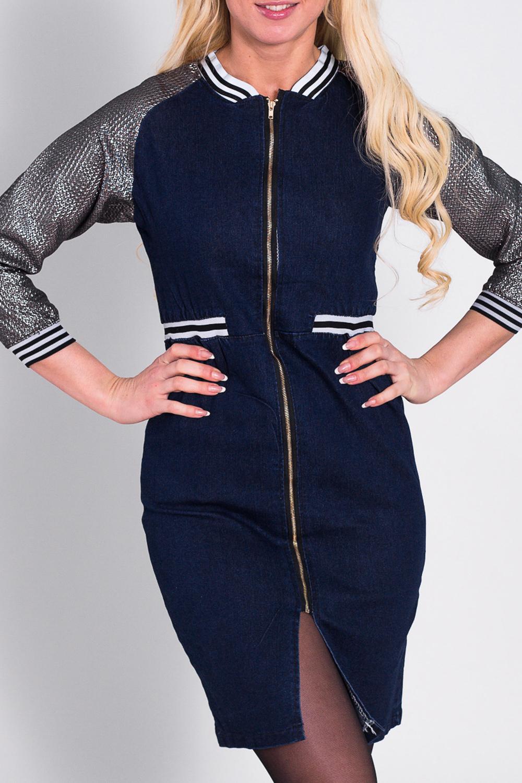 ПлатьеПлатья<br>Модное платье в спортивном стиле. Модель выполнена из джинсовой ткани. Отличный выбор для повседневного гардероба  Цвет: синий, серый, белый  Рост девушки-фотомодели 170 см<br><br>По длине: До колена<br>По материалу: Джинс,Хлопок<br>По образу: Город,Спорт<br>По рисунку: Цветные<br>По сезону: Весна,Осень<br>По силуэту: Полуприталенные<br>По стилю: Повседневный стиль,Спортивный стиль,Кэжуал,Молодежный стиль<br>По форме: Платье - футляр<br>По элементам: С молнией,С манжетами<br>Рукав: Рукав три четверти<br>Размер : 42<br>Материал: Джинс<br>Количество в наличии: 1