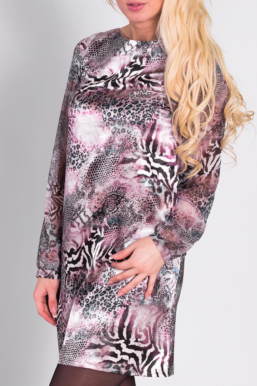 ПлатьеПлатья<br>Эффектное платье с животным принтом. Модель выполнена из приятного трикотажа. Отличный выбор для повседневного гардероба  Цвет: розовый, серый, белый, черный  Рост девушки-фотомодели 170 см<br><br>По образу: Город,Свидание<br>По стилю: Повседневный стиль<br>По материалу: Трикотаж<br>По рисунку: Леопард,Цветные,Зебра<br>По сезону: Весна,Осень<br>По силуэту: Свободные<br>По длине: До колена<br>Рукав: Длинный рукав<br>Горловина: С- горловина<br>Размер: 42,44,46<br>Материал: 94% полиэстер 6% эластан<br>Количество в наличии: 1