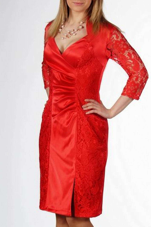 ПлатьеПлатья<br>Это платье отлично подойде для торжества, а также для вечерних выходов в свет. Разработан абсолютно комфортный лиф, а центральная часть полочки с веерными складочками отвлечет от лишних килограммов на талии. Ткань основы - это хлопок сатин со стрейчем, в отделке использован красивый гипюр, который наложен на бока полочки, а также из него выполнены рукава 3/4. Кокетливый разрез на ноге обеспечит удобство при ходьбе.   Длина в 46-48 размерах 96 см, длина в 50-54 размерах 100 см.   В изделии использованы цвета: красный  Ростовка изделия 170 см.<br><br>Горловина: Фигурная горловина<br>По длине: Ниже колена<br>По материалу: Атлас,Гипюр<br>По образу: Выход в свет,Свидание<br>По рисунку: Однотонные<br>По сезону: Весна,Зима,Лето,Осень,Всесезон<br>По силуэту: Приталенные<br>По стилю: Нарядный стиль,Повседневный стиль<br>По форме: Платье - футляр<br>По элементам: С разрезом<br>Разрез: Короткий,Шлица<br>Рукав: Рукав три четверти<br>Размер : 46,54<br>Материал: Атлас + Гипюр<br>Количество в наличии: 2