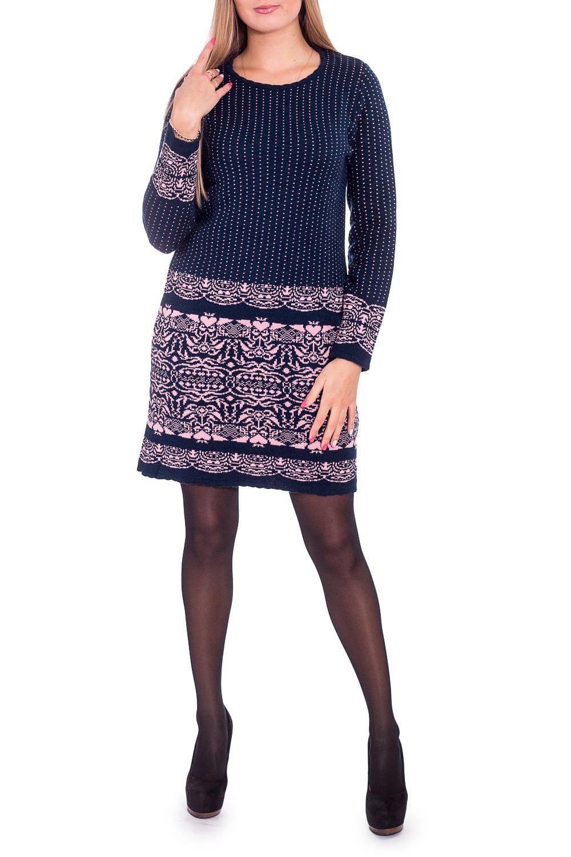 ПлатьеПлатья<br>Теплое платье с длинными рукавами. Вязаный трикотаж - это красота, тепло и комфорт. В вязаных вещах очень легко оставаться женственной и в то же время не замёрзнуть.  В изделии использованы цвета: темно-синий, розовый  Рост девушки-фотомодели 170 см<br><br>Горловина: С- горловина<br>По длине: До колена<br>По материалу: Вязаные,Трикотаж<br>По образу: Город,Свидание<br>По рисунку: С принтом,Цветные<br>По силуэту: Приталенные<br>По стилю: Повседневный стиль<br>По форме: Платье - футляр<br>Рукав: Длинный рукав<br>По сезону: Зима<br>Размер : 44,48,50<br>Материал: Вязаное полотно<br>Количество в наличии: 5