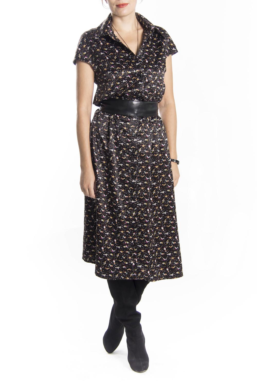 ПлатьеПлатья<br>Бесподобное платье с короткими рукавами. Модель выполнена из приятного материала. Отличный выбор для повседневного гардероба. Платье без пояса.  Цвет: коричневый, мультицвет  Длина по спинке: 44 размер - 114 см 46 размер - 114 см 48 размер - 115 см 50 размер - 116 см 52 размер - 117 см 54 размер - 118 см  Длина рукава: 44 размер - 24 см 46 размер - 25 см 48 размер - 26 см 50 размер - 27 см 52 размер - 28 см 54 размер - 29 см<br><br>По образу: Свидание,Город<br>По стилю: Нарядный стиль,Повседневный стиль<br>По материалу: Атлас<br>По рисунку: Абстракция,Цветные<br>По сезону: Зима,Лето,Осень,Весна,Всесезон<br>По силуэту: Свободные<br>По форме: Платье - рубашка<br>По длине: Ниже колена<br>Воротник: Рубашечный<br>Рукав: Короткий рукав<br>Горловина: V- горловина<br>Размер: 44,46,48,50,52,54<br>Материал: 95% полиэстер 5% эластан<br>Количество в наличии: 8