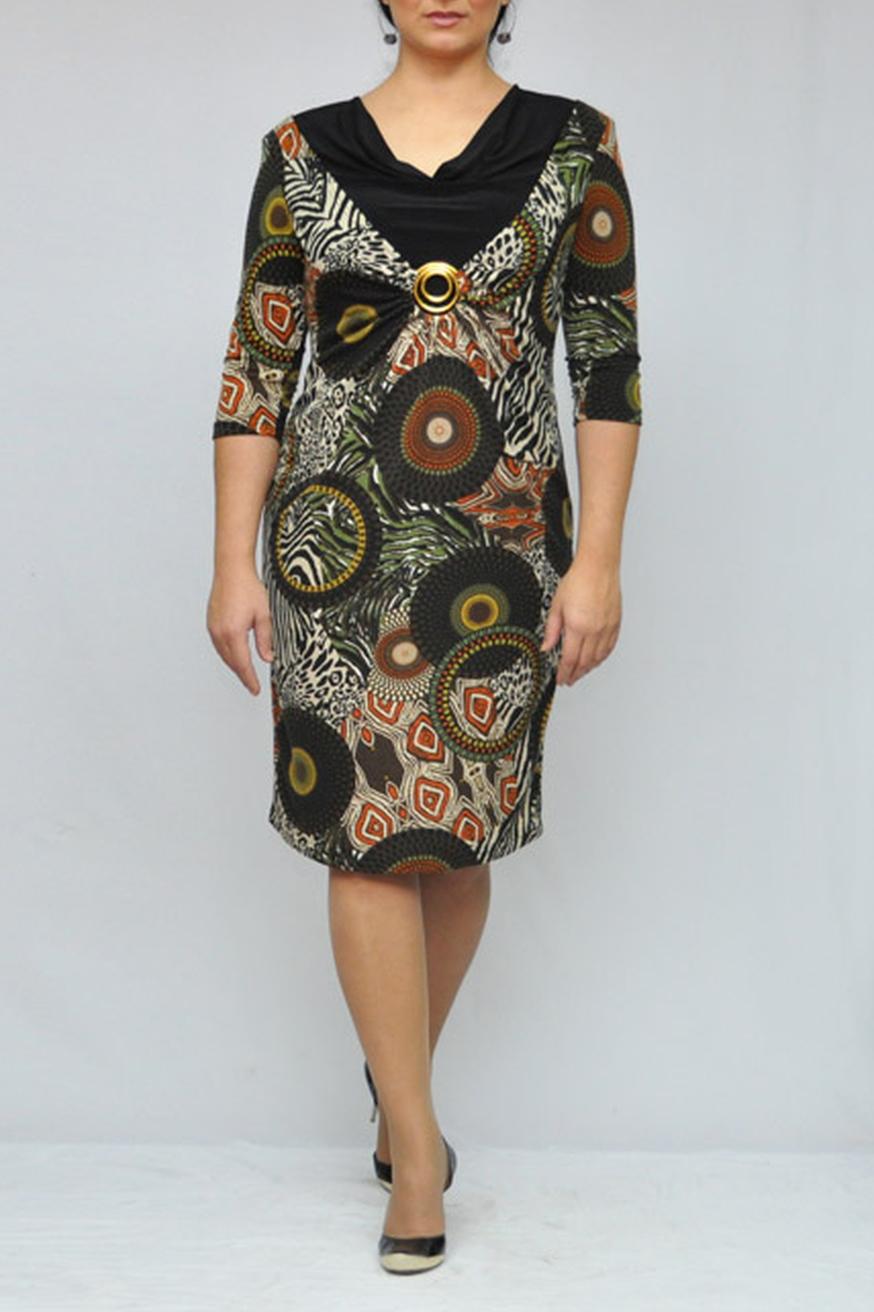 ПлатьеПлатья<br>Интересное платье с рукавами 3/4. Модель выполнена из приятного трикотажа. Отличный выбор для любого случая.  Цвет: черный, бежевый, зеленый, коричневый  Рост девушки-фотомодели 173 см.<br><br>По длине: Ниже колена<br>По материалу: Трикотаж<br>По рисунку: Абстракция,Цветные,С принтом<br>По сезону: Весна,Осень,Зима<br>По силуэту: Полуприталенные<br>По стилю: Повседневный стиль<br>По форме: Платье - футляр<br>По элементам: С декором<br>Рукав: Рукав три четверти<br>Горловина: Качель<br>Размер : 50<br>Материал: Трикотаж<br>Количество в наличии: 8