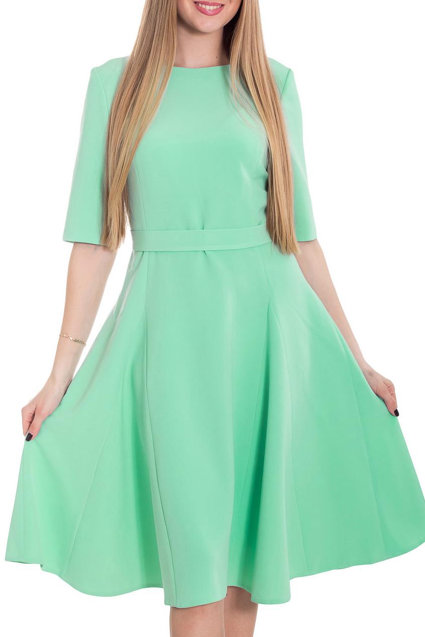 ПлатьеПлатья<br>Прекрасное платье приталенного силуэта с юбкой в мягкую складку. Оно выполнено из легкой однотонной плательной ткани и прекрасно подойдет на каждый день. Горловина обработана обтачкой, рукав до локтя, достоинства фигуры подчеркивает втачной пояс. В этом платье Вы очаровательны  Цвет: мятный  Рост девушки-фотомодели 180 см.<br><br>Горловина: С- горловина<br>По длине: Ниже колена<br>По материалу: Вискоза,Тканевые<br>По образу: Город,Свидание<br>По рисунку: Однотонные<br>По сезону: Лето,Осень,Весна<br>По силуэту: Приталенные<br>По стилю: Повседневный стиль,Романтический стиль<br>По форме: Платье - трапеция<br>Рукав: До локтя<br>Размер : 42,46,48,50,52<br>Материал: Плательная ткань<br>Количество в наличии: 5