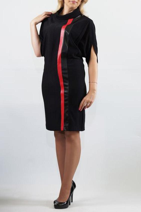 ПлатьеПлатья<br>Трикотажное платье прямого силуэта с отделкой из кожи. Перед с вертикальными кожаными вставками разной ширины, расположенными с левой стороны детали переда. Спинка цельная, без отличительных особенностей. Рукав с верхним плечевым швом, без нижнего шва; длиной до локтя. Воротник типа «хомут».  Длина изделия, см До 48 размера - 97,0 см; 50-56 размеры – 103,0 см;  В изделии использованы цвета: черный, красный  Ростовка изделия 170 см.<br><br>Воротник: Хомут<br>По длине: До колена<br>По материалу: Трикотаж<br>По рисунку: Цветные<br>По силуэту: Полуприталенные<br>По стилю: Повседневный стиль<br>По форме: Платье - футляр<br>Рукав: До локтя<br>По сезону: Осень,Весна,Зима<br>Размер : 48,50,52,54,56<br>Материал: Трикотаж + Искусственная кожа<br>Количество в наличии: 7