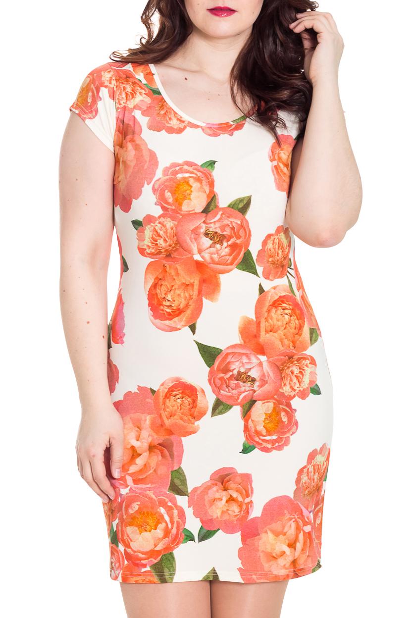 ПлатьеПлатья<br>Чудесное женское платье. Модель приталенного силуэта великолепно подчеркивает все достоинства Вашей фигуры.  Цвет: молочный, кораллово-розовый, оранжевый.  Рост девушки-фотомодели 180 см<br><br>Горловина: С- горловина<br>По длине: До колена<br>По материалу: Трикотаж,Вискоза<br>По рисунку: Растительные мотивы,С принтом,Цветные,Цветочные<br>По силуэту: Приталенные<br>По стилю: Летний стиль,Повседневный стиль<br>По форме: Платье - футляр<br>Рукав: Короткий рукав<br>По сезону: Лето<br>Размер : 46,48<br>Материал: Холодное масло<br>Количество в наличии: 2