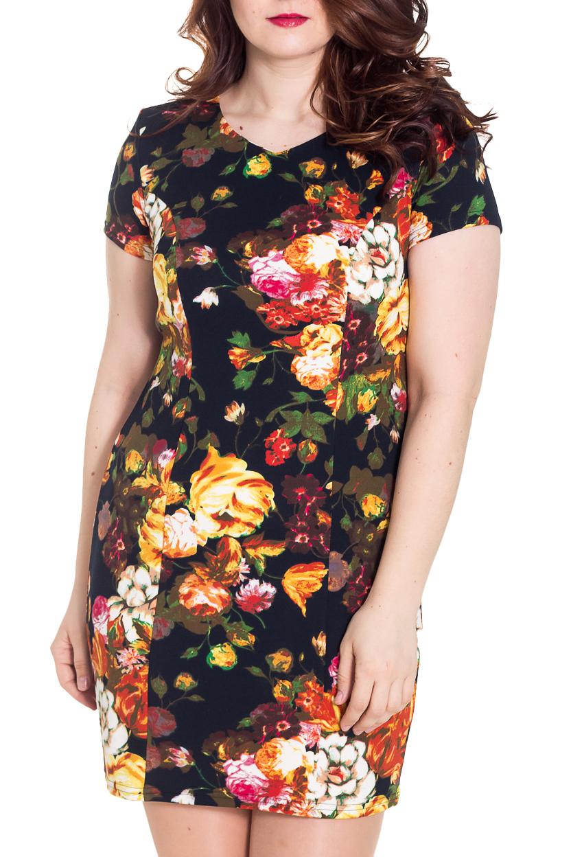 ПлатьеПлатья<br>Романтичное женское платье. Модель приталенного силуэта великолепно подчеркивает все достоинства Вашей фигуры и станет идеальным дополнением к Вашему повседневному гардеробу.  Цвет: темно-синий, оранжевый и др.  Рост девушки-фотомодели 180 см<br><br>Горловина: V- горловина<br>По длине: До колена<br>По материалу: Трикотаж,Вискоза<br>По рисунку: Растительные мотивы,С принтом,Цветные,Цветочные<br>По силуэту: Приталенные<br>По стилю: Повседневный стиль<br>По форме: Платье - футляр<br>Рукав: Короткий рукав<br>По сезону: Лето<br>Размер : 48,50,52,56,58<br>Материал: Трикотаж<br>Количество в наличии: 5