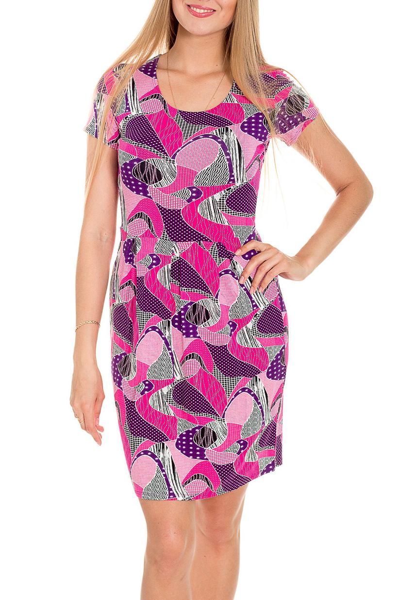 ПлатьеПлатья<br>Легкое летнее платье. Модель выполнена из мягкой вискозы. Отличный выбор для повседневного гардероба.  Цвет: белый, черный, розовый, фиолетовый  Рост девушки-фотомодели 170 см<br><br>Горловина: С- горловина<br>По длине: До колена<br>По материалу: Вискоза,Трикотаж<br>По образу: Город,Свидание<br>По рисунку: С принтом,Цветные<br>По силуэту: Полуприталенные<br>По стилю: Повседневный стиль<br>По форме: Платье - футляр<br>По элементам: Со складками<br>Рукав: Короткий рукав<br>По сезону: Лето<br>Размер : 44<br>Материал: Вискоза<br>Количество в наличии: 1