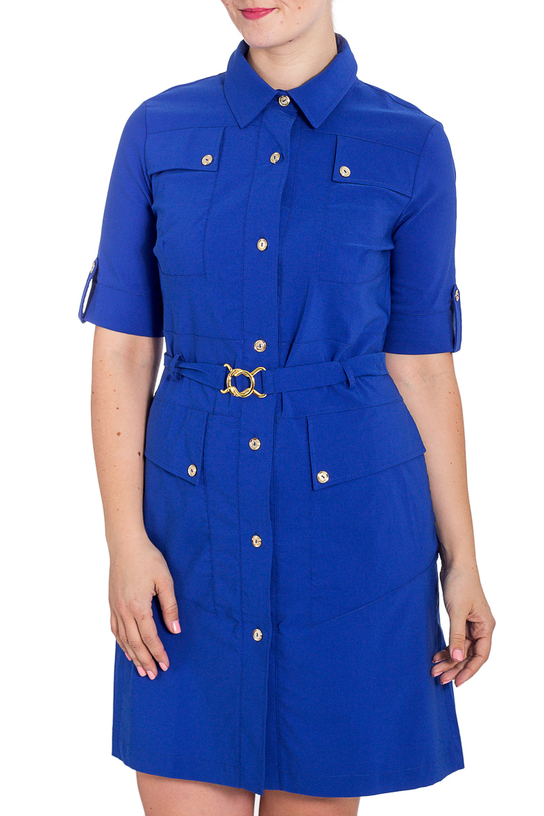 ПлатьеПлатья<br>Однотонное платье-рубашка с рукавами до локтя. Модель выполнена из приятного материала. Отличный выбор для повседневного и делового гардероба. Платье без пояса.  Цвет: синий  Рост девушки-фотомодели 180 см.<br><br>Воротник: Рубашечный<br>По длине: До колена<br>По материалу: Вискоза,Тканевые<br>По рисунку: Однотонные<br>По силуэту: Полуприталенные<br>По стилю: Повседневный стиль,Кэжуал,Сафари<br>По форме: Платье - рубашка<br>По элементам: С карманами,С открытой спиной,С патами<br>Рукав: До локтя<br>По сезону: Осень,Весна,Зима<br>Размер : 46,50,54<br>Материал: Плательная ткань<br>Количество в наличии: 8