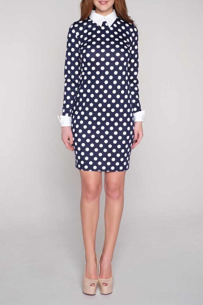 ПлатьеПлатья<br>Милое платье в горошек с рубашечным воротником и длинными рукавами. Модель выполнена из приятного трикотажа. Отличный выбор для повседневного гардероба.  В изделии использованы цвета: синий, белый  Ростовка изделия 170 см.<br><br>Воротник: Рубашечный<br>По длине: До колена<br>По материалу: Вискоза,Трикотаж<br>По образу: Город,Свидание<br>По рисунку: В горошек,С принтом,Цветные<br>По силуэту: Полуприталенные<br>По стилю: Повседневный стиль<br>По форме: Платье - футляр<br>По элементам: С воротником,С манжетами<br>Рукав: Длинный рукав<br>По сезону: Осень,Весна<br>Размер : 44,50<br>Материал: Джерси<br>Количество в наличии: 4