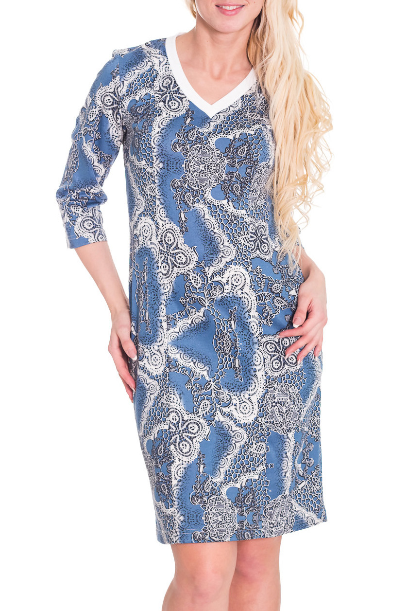 ПлатьеПлатья<br>Чудесное женское платье приталенного силуэта. Рукава 3/4 с манжетами. Отличный выбор для повседневного гардероба.  Цвет: голубой, серый, белый  Рост девушки-фотомодели 170 см<br><br>Горловина: V- горловина<br>По длине: До колена<br>По материалу: Вискоза,Трикотаж<br>По рисунку: Цветные,С принтом<br>По сезону: Весна,Осень,Зима<br>По силуэту: Приталенные<br>По стилю: Повседневный стиль<br>По форме: Платье - футляр<br>По элементам: С манжетами<br>Рукав: Рукав три четверти<br>Размер : 44<br>Материал: Трикотаж<br>Количество в наличии: 1
