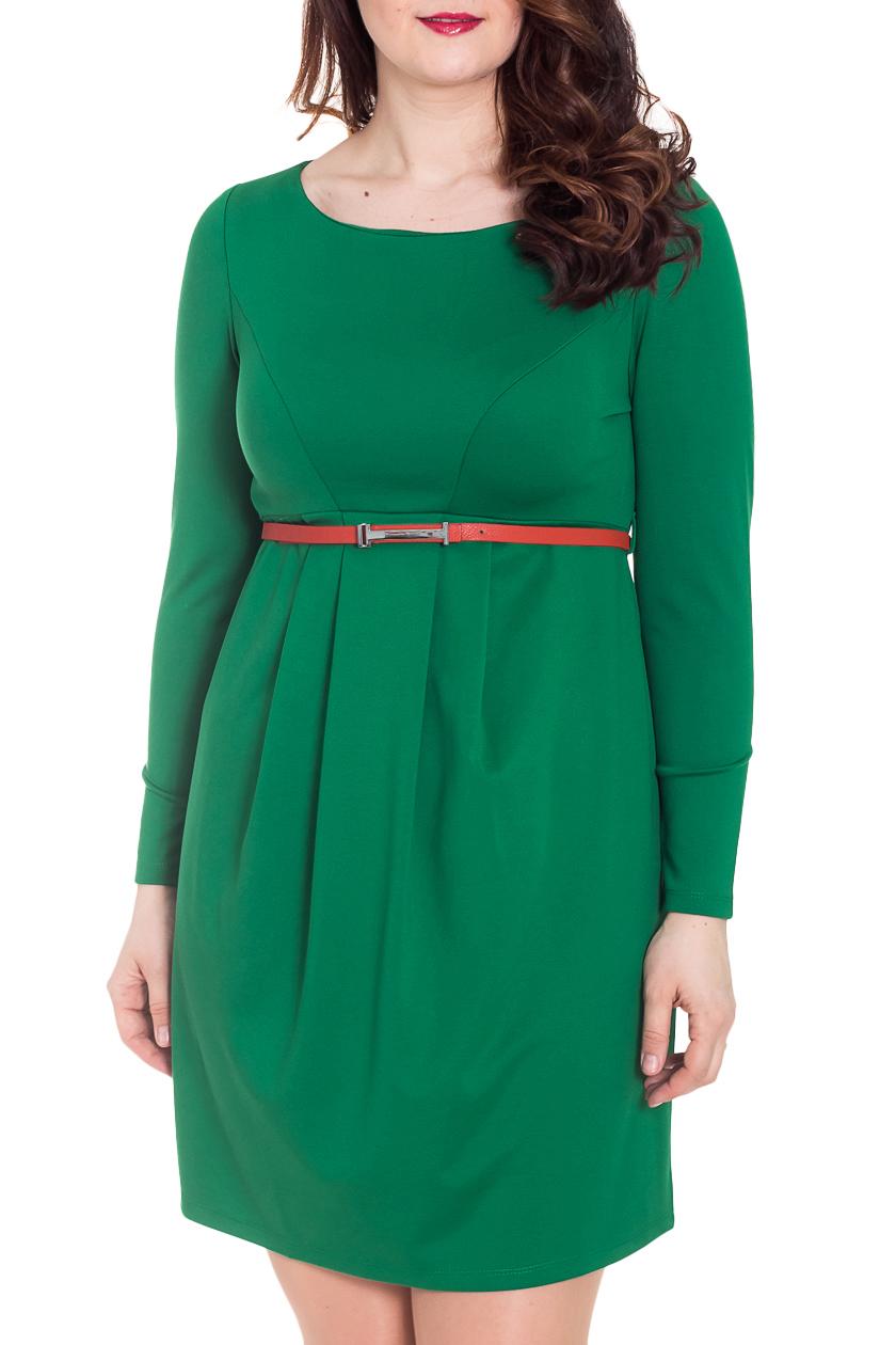 ПлатьеПлатья<br>Однотонное платье с круглой горловиной и длинными рукавами. Модель выполнена из приятного материала. Отличный выбор для любого случая. Платье без пояса.  За счет свободного кроя и эластичного материала изделие можно носить во время беременности  Цвет: зеленый  Рост девушки-фотомодели 180 см<br><br>Горловина: С- горловина<br>По длине: До колена<br>По материалу: Вискоза,Трикотаж<br>По образу: Город,Офис,Свидание<br>По рисунку: Однотонные<br>По силуэту: Полуприталенные<br>По стилю: Классический стиль,Офисный стиль,Повседневный стиль<br>По элементам: С завышенной талией,Со складками<br>Рукав: Длинный рукав<br>По сезону: Осень,Весна<br>Размер : 42,44,48,50<br>Материал: Джерси<br>Количество в наличии: 4