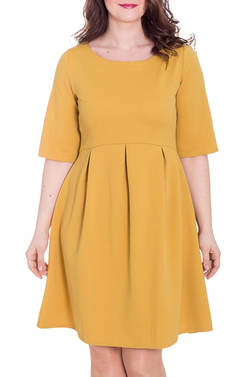 ПлатьеПлатья<br>Чудесное платье свободного силуэта. Модель выполнена из приятного трикотажа. Отличный выбор для повседневного и делового гардероба.  Цвет: желтый  Рост девушки-фотомодели 180 см.<br><br>По образу: Город,Свидание<br>По стилю: Классический стиль,Повседневный стиль<br>По материалу: Трикотаж<br>По рисунку: С принтом,Цветные<br>По сезону: Весна,Осень<br>По силуэту: Свободные<br>По элементам: Со складками<br>По форме: Платье - трапеция<br>По длине: До колена<br>Рукав: До локтя<br>Горловина: С- горловина<br>Размер: 50<br>Материал: 100% полиэстер<br>Количество в наличии: 1