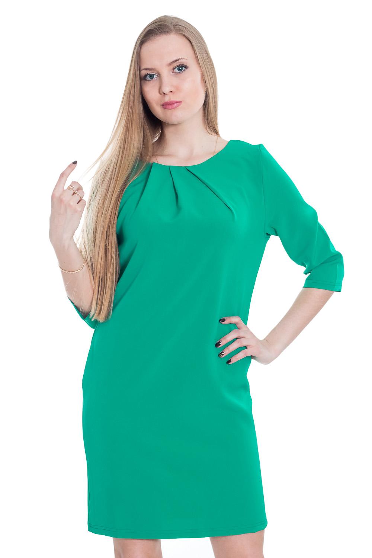 ПлатьеПлатья<br>Однотонное платье с круглой горловиной и рукавами 3/4. Модель выполнена из приятной телу ткани. Отличный выбор для повседневного гардероба.  Цвет: зеленый  Рост девушки-фотомодели 170 см.<br><br>Горловина: С- горловина<br>По длине: До колена<br>По материалу: Вискоза,Тканевые<br>По образу: Город,Офис,Свидание<br>По рисунку: Однотонные<br>По силуэту: Полуприталенные<br>По стилю: Повседневный стиль<br>По элементам: С декором,Со складками<br>Рукав: Рукав три четверти<br>По сезону: Осень,Весна<br>Размер : 42,44,46,48,50<br>Материал: Плательная ткань<br>Количество в наличии: 4