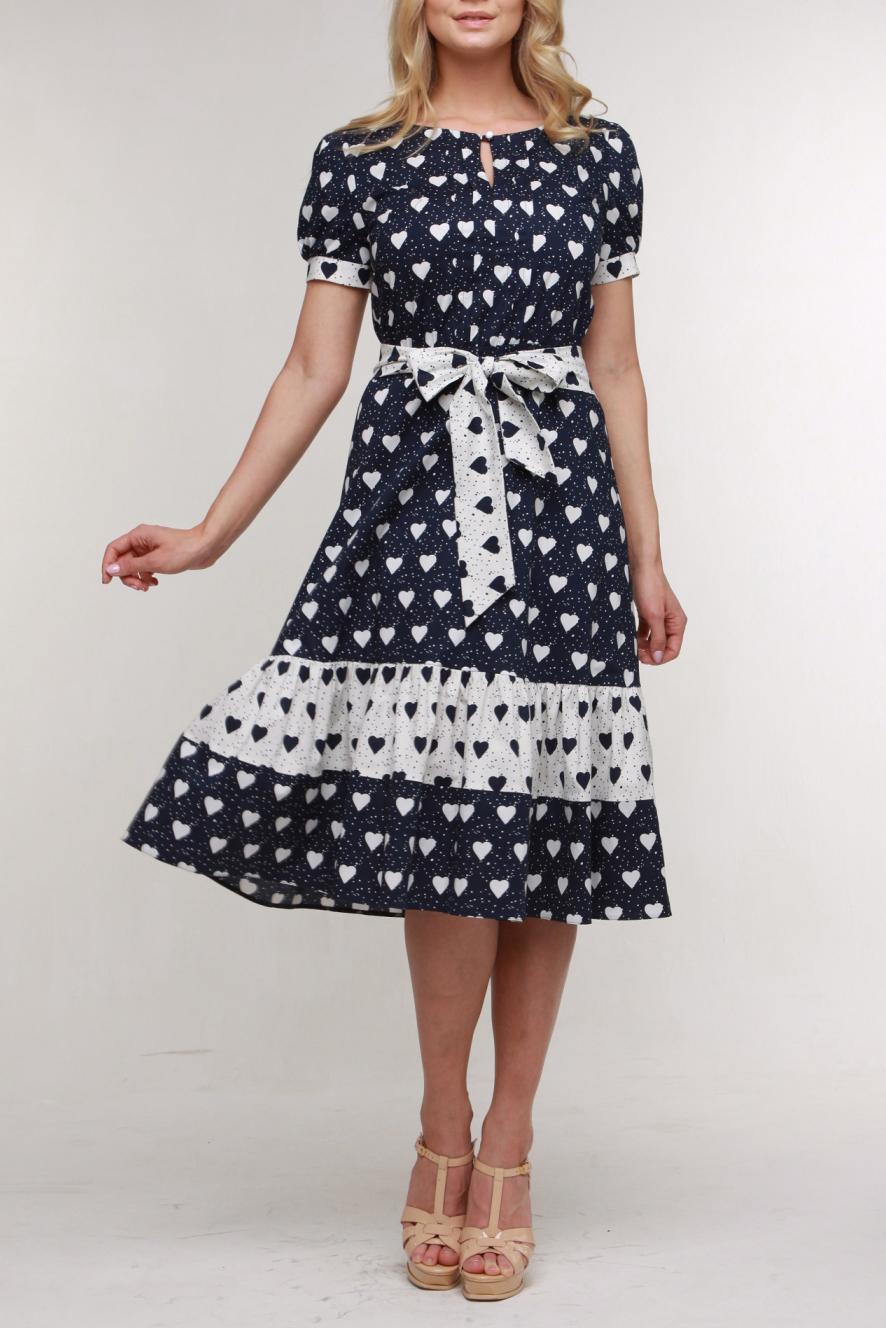 ПлатьеПлатья<br>Романтичное платье из хлопкового поплина. Горловина с обтачкой и имеет небольшой разрез и застежку на пуговицу и навесную петлю. Лиф украшен застроченными складочками. Рукав-фонарик, отрезная широкая юбка с оборками. Талия поддержана резинкой, пристроченной к шву. Платье имеет пояс, завязывающийся на бант.  Цвет: черный, белый  Рост девушки-фотомодели 174 см.<br><br>Горловина: С- горловина<br>По длине: Ниже колена<br>По материалу: Хлопок<br>По рисунку: С принтом,Цветные<br>По силуэту: Приталенные<br>По стилю: Повседневный стиль<br>По форме: Платье - трапеция<br>По элементам: С манжетами<br>Рукав: Короткий рукав<br>По сезону: Лето<br>Размер : 46,48,50,54<br>Материал: Хлопок<br>Количество в наличии: 6