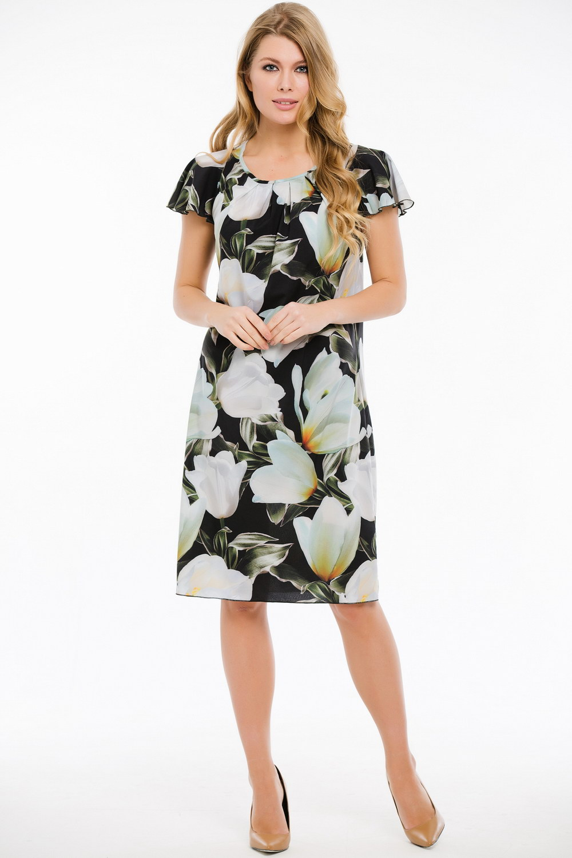 ПлатьеПлатья<br>Замечательное платье с цветочным принтом. Модель выполнена из приятного материала. Отличный выбор для любого случая. Платье с подкладом.  В изделии использованы цвета: черный, зеленый, белый и др.  Ростовка изделия 170 см.<br><br>Горловина: С- горловина<br>По длине: До колена<br>По материалу: Шифон<br>По рисунку: Растительные мотивы,С принтом,Цветные,Цветочные<br>По сезону: Весна,Зима,Лето,Осень,Всесезон<br>По силуэту: Полуприталенные<br>По стилю: Нарядный стиль,Повседневный стиль<br>По элементам: С подкладом<br>Рукав: Короткий рукав<br>Размер : 44,46,48,50,52<br>Материал: Шифон<br>Количество в наличии: 9