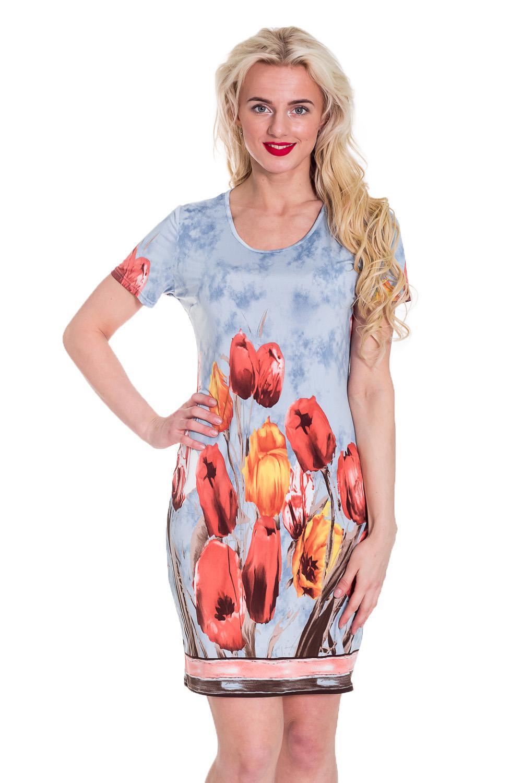 ПлатьеПлатья<br>Чудесное женское платье. Модель приталенного силуэта великолепно подчеркивает все достоинства Вашей фигуры.  Цвет: голубой, кораллово-розовый.  Рост девушки-фотомодели 170 см<br><br>По образу: Город,Свидание<br>По стилю: Летний стиль,Повседневный стиль,Романтический стиль<br>По материалу: Трикотаж<br>По рисунку: Растительные мотивы,С принтом,Цветные,Цветочные<br>По сезону: Лето<br>По силуэту: Приталенные<br>По форме: Платье - футляр<br>По длине: До колена<br>Рукав: Короткий рукав<br>Горловина: С- горловина<br>Размер: 46<br>Материал: 50% вискоза 50% полиэстер<br>Количество в наличии: 1