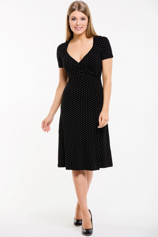 ПлатьеПлатья<br>Замечательное платье с фигурной горловиной. Модель выполнена из приятного материала. Отличный выбор для любого случая.  Длина изделия по спинке в 42 размере 103 см.  В изделии использованы цвета: черный, белый  Ростовка изделия 170 см.<br><br>Горловина: Фигурная горловина<br>По длине: Ниже колена<br>По материалу: Вискоза<br>По рисунку: В горошек,С принтом,Цветные<br>По сезону: Лето,Осень,Весна<br>По силуэту: Приталенные<br>По стилю: Повседневный стиль<br>По форме: Платье - трапеция<br>Рукав: Короткий рукав<br>Размер : 44,46,48,50<br>Материал: Вискоза<br>Количество в наличии: 7