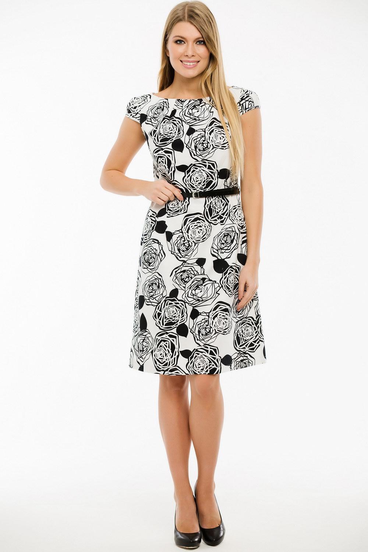 ПлатьеПлатья<br>Замечательное платье с круглой горловиной и короткими рукавами. Модель выполнена из хлопкового материала. Отличный выбор для любого случая. Платье без пояса.  Длина изделия по спинке в 42 размере 95 см.  В изделии использованы цвета: белый, черный  Ростовка изделия 170 см.<br><br>Горловина: С- горловина<br>По длине: До колена<br>По материалу: Тканевые,Хлопок<br>По рисунку: Растительные мотивы,С принтом,Цветные,Цветочные<br>По сезону: Весна,Лето<br>По силуэту: Приталенные<br>По стилю: Повседневный стиль<br>По форме: Платье - трапеция<br>Рукав: Короткий рукав<br>Размер : 44,46,48,50<br>Материал: Плательная ткань<br>Количество в наличии: 6