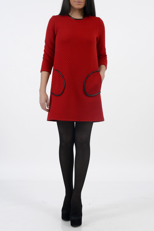 ПлатьеПлатья<br>Женское платье с круглой горловиной и рукавами 3/4. Модель выполнена из плотного трикотажа. Отличный вариант для любого случая.  Цвет: красный  Ростовка изделия 170 см<br><br>По длине: До колена<br>По материалу: Трикотаж<br>По образу: Город,Свидание<br>По рисунку: Однотонные,Фактурный рисунок<br>По сезону: Зима,Весна,Осень<br>По силуэту: Свободные<br>По стилю: Повседневный стиль,Молодежный стиль<br>По форме: Платье - трапеция<br>По элементам: С карманами<br>Рукав: Рукав три четверти<br>Горловина: С- горловина<br>Размер : 42,44,48<br>Материал: Трикотаж<br>Количество в наличии: 3