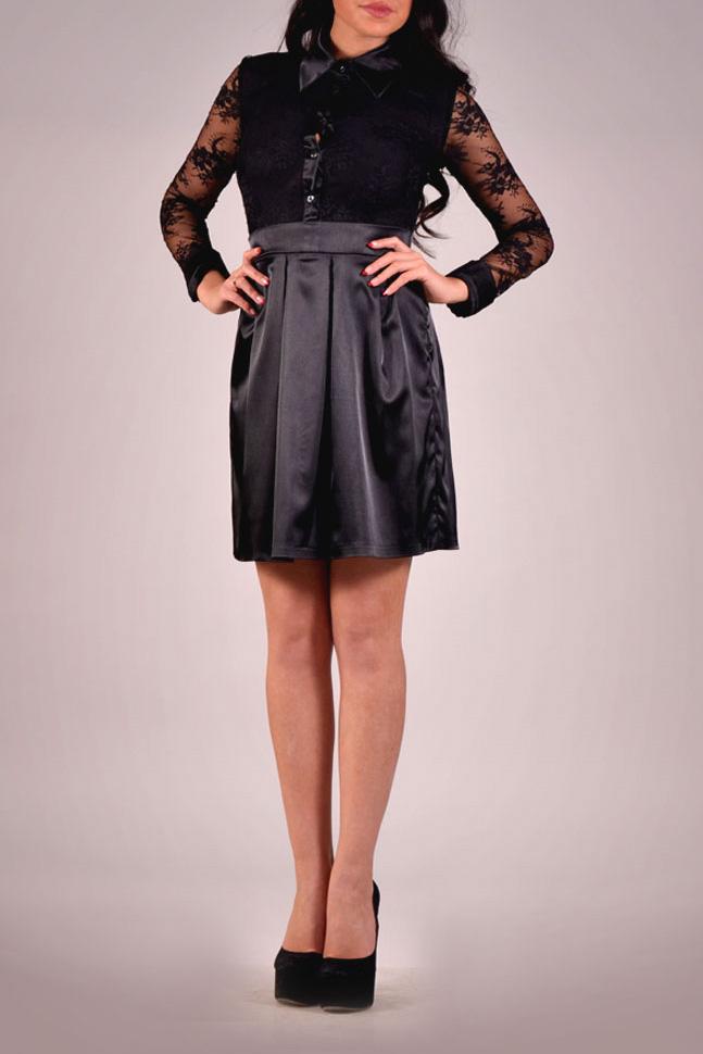 ПлатьеПлатья<br>Великолепное платье с рубашечным воротником и длинными рукавами. Модель имитирует блузку из гипюра и юбку из атласа. Отличный выбор для любого случая.  Цвет: черный  Ростовка изделия 170 см<br><br>Воротник: Рубашечный<br>По длине: До колена<br>По материалу: Атлас,Гипюр<br>По образу: Выход в свет<br>По рисунку: Однотонные<br>По сезону: Весна,Всесезон,Зима,Лето,Осень<br>По силуэту: Полуприталенные<br>По стилю: Нарядный стиль<br>По форме: Платье - футляр<br>По элементам: С декором,Со складками<br>Рукав: Длинный рукав<br>Размер : 42,48<br>Материал: Гипюр + Атлас<br>Количество в наличии: 1