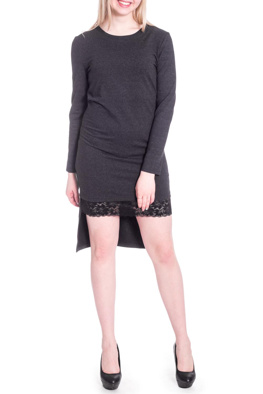 ПлатьеПлатья<br>Платье женское коктейльное, полуприлегающего силуэта. Круглая горловина с не широкой обтачной. По низу полочки эластичное кружево. Спинка с пальцевыми выточками. Низ изделия ассиметричный.   Рукав втачной, длинный, 60 см. Длина по полочке 84 см, по спинке 105 см.  В изделии использованы цвета: темно-серый, черный  Рост девушки-фотомодели 170 см.<br><br>Горловина: С- горловина<br>По длине: До колена<br>По материалу: Гипюр,Трикотаж<br>По рисунку: Однотонные<br>По сезону: Зима,Осень,Весна<br>По силуэту: Обтягивающие<br>По стилю: Нарядный стиль,Повседневный стиль<br>По форме: Платье - футляр<br>По элементам: С декором,С фигурным низом<br>Рукав: Длинный рукав<br>Размер : 42,44,46,48<br>Материал: Трикотаж + Кружево<br>Количество в наличии: 4