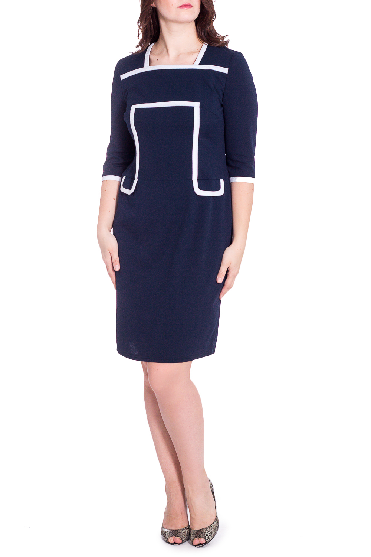 ПлатьеПлатья<br>Универсальное платье с контрастной отделкой. Модель выполнена из приятного трикотажа. Отличный выбор для любого случая.   В изделии использованы цвета: синий, белый  Параметры размеров: 44 размер - обхват груди 84 см., обхват талии 72 см., обхват бедер 97 см. 46 размер - обхват груди 92 см., обхват талии 76 см., обхват бедер 100 см. 48 размер - обхват груди 96 см., обхват талии 80 см., обхват бедер 103 см. 50 размер - обхват груди 100 см., обхват талии 84 см., обхват бедер 106 см. 52 размер - обхват груди 104 см., обхват талии 88 см., обхват бедер 109 см. 54 размер - обхват груди 110 см., обхват талии 94,5 см., обхват бедер 114 см. 56 размер - обхват груди 116 см., обхват талии 101 см., обхват бедер 119 см. 58 размер - обхват груди 122 см., обхват талии 107,5 см., обхват бедер 124 см. 60 размер - обхват груди 128 см., обхват талии 114 см., обхват бедер 129 см.  Ростовка изделия 168 см.  Рост девушки-фотомодели 180 см<br><br>Горловина: Квадратная горловина<br>По длине: Ниже колена<br>По материалу: Трикотаж<br>По рисунку: Однотонные<br>По силуэту: Приталенные<br>По стилю: Классический стиль,Кэжуал,Офисный стиль,Повседневный стиль<br>По форме: Платье - футляр<br>По элементам: С декором<br>Рукав: Рукав три четверти<br>По сезону: Осень,Весна,Зима<br>Размер : 48,50,52,56<br>Материал: Трикотаж<br>Количество в наличии: 5