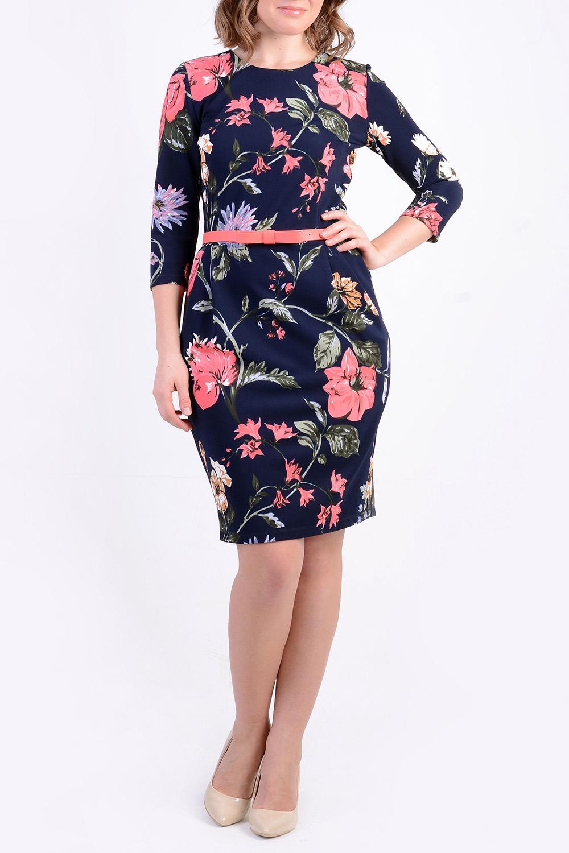ПлатьеПлатья<br>Очаровательное платье приятной  расцветки из  трикотажного полотна. Платье дополнено поясом.  Цвет: синий, коралловый, зеленый  Рост девушки-фотомодели 170 см<br><br>Горловина: С- горловина<br>По длине: До колена<br>По материалу: Трикотаж<br>По рисунку: Растительные мотивы,С принтом,Цветные,Цветочные<br>По силуэту: Приталенные<br>По стилю: Повседневный стиль<br>По форме: Платье - футляр<br>Рукав: Рукав три четверти<br>По сезону: Осень,Весна,Зима<br>Размер : 42,44,46<br>Материал: Трикотаж<br>Количество в наличии: 3