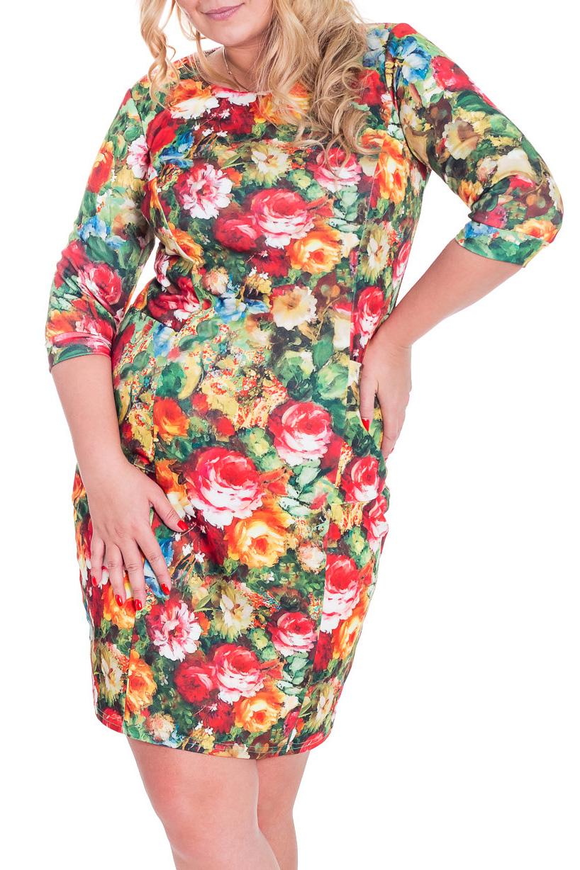 ПлатьеПлатья<br>Очаровательное платье футлярного типа с декоративным разрезом спереди. Модель выполнена из приятного трикотажа. Отличный выбор для повседневного гардероба.  Цвет: зеленый, желтый, красный  Рост девушки-фотомодели 170 см.<br><br>Горловина: С- горловина<br>По длине: До колена<br>По материалу: Вискоза,Трикотаж<br>По образу: Город,Свидание<br>По рисунку: Растительные мотивы,Цветные,Цветочные<br>По силуэту: Полуприталенные<br>По стилю: Повседневный стиль<br>По форме: Платье - футляр<br>По элементам: С разрезом<br>Разрез: Длинный<br>Рукав: Рукав три четверти<br>По сезону: Осень,Весна<br>Размер : 50,52<br>Материал: Джерси<br>Количество в наличии: 3