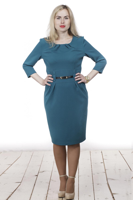 ПлатьеПлатья<br>Элегантное женское платье с круглой горловиной и рукавами 3/4. Модель выполнена из плотного трикотажа с фактурной выработкой. Отличный выбор для повседневного и делового гардероба. Пояс из искусственной кожи входит в комплект.  Цвет: морская волна  Длина изделия 87 см  Длина рукава 40 см   Рост девушки-фотомодели 161 см<br><br>По образу: Офис,Свидание,Город<br>По стилю: Офисный стиль,Повседневный стиль<br>По материалу: Вискоза,Трикотаж<br>По рисунку: Однотонные<br>По сезону: Весна,Осень<br>По силуэту: Полуприталенные<br>По элементам: Со складками,С поясом<br>По длине: Ниже колена<br>Рукав: Рукав три четверти<br>Горловина: С- горловина<br>Размер: 44,46,48,50,52,54,56<br>Материал: 50% вискоза 50% полиэстер<br>Количество в наличии: 4