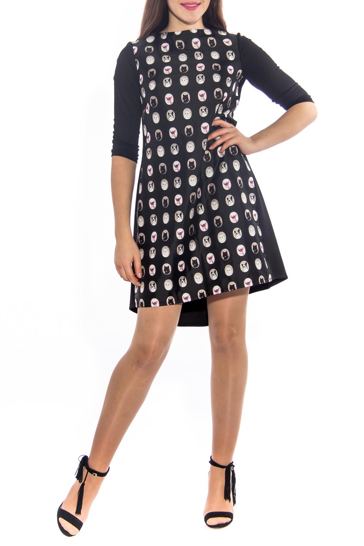 ПлатьеПлатья<br>Красивое платье свободного силуэта со шлейфом. Модель выполнена из приятного материала. Отличный выбор для повседневного гардероба.  Цвет: черный, серый, белый, розовый  Ростовка изделия 170 см.  Длина спереди: 44 размер - 85 см 46 размер - 86 см 48 размер - 87 см 50 размер - 88 см 52 размер - 89 см 54 размер - 90 см  Длина по спинке: 44 размер - 94 см 46 размер - 95 см 48 размер - 96 см 50 размер - 97 см 52 размер - 98 см 54 размер - 99 см  Длина рукава: 44 размер - 42 см 46 размер - 42 см 48 размер - 43 см 50 размер - 43 см 52 размер - 44 см 54 размер - 44 см<br><br>Горловина: С- горловина<br>По длине: До колена<br>По материалу: Костюмные ткани,Тканевые<br>По образу: Город,Свидание<br>По рисунку: Цветные,С принтом<br>По сезону: Весна,Осень<br>По силуэту: Свободные<br>По стилю: Повседневный стиль,Молодежный стиль<br>По форме: Платье - трапеция<br>По элементам: Со шлейфом,С фигурным низом<br>Рукав: Рукав три четверти<br>Размер : 44<br>Материал: Костюмно-плательная ткань<br>Количество в наличии: 1
