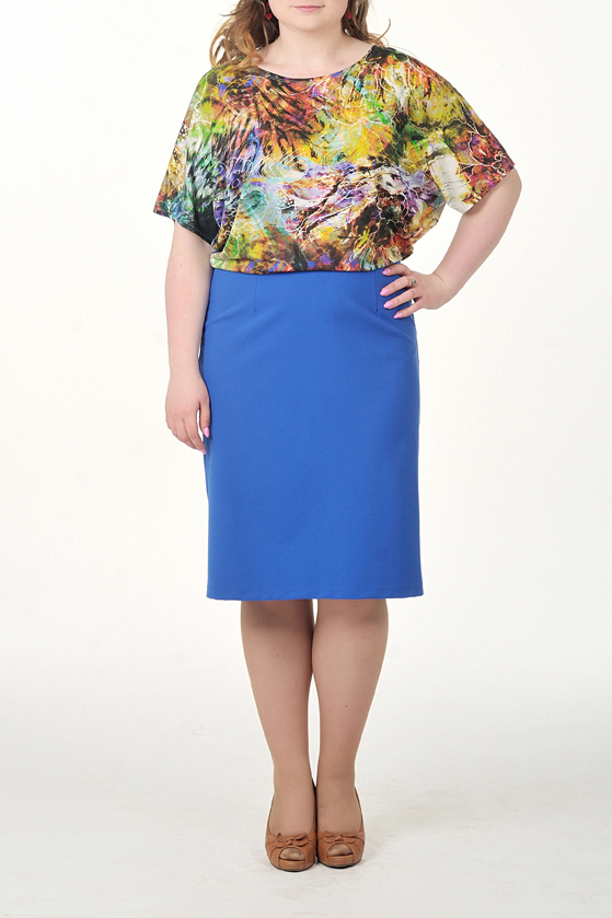 ПлатьеПлатья<br>Интересное платье с имитацией блузки и юбки. Модель выполнена из приятного материала. Отличный выбор для повседневного гардероба.  Цвет: синий, желтый и др.  Ростовка изделия 164 см.<br><br>Горловина: С- горловина<br>По длине: Ниже колена<br>По материалу: Вискоза,Трикотаж<br>По рисунку: С принтом,Цветные<br>По силуэту: Полуприталенные<br>По стилю: Повседневный стиль<br>По форме: Платье - футляр<br>Рукав: До локтя<br>По сезону: Осень,Весна<br>Размер : 46,48,50,52,54<br>Материал: Трикотаж<br>Количество в наличии: 13