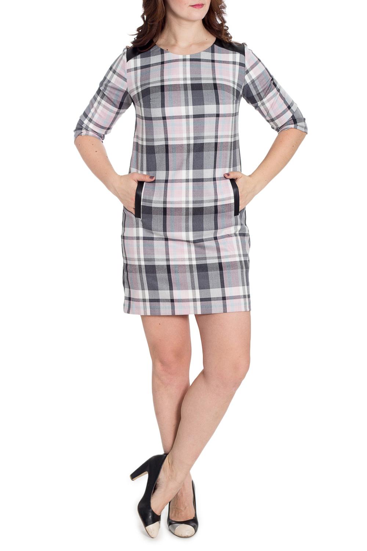ПлатьеПлатья<br>Универсальное платье с круглой горловиной и рукавами 3/4. Модель выполнена из плотного материала. Отличный выбор для любого случая.  В изделии использованы цвета: серый, белый и др.  Рост девушки-фотомодели 180 см.<br><br>Горловина: С- горловина<br>По длине: До колена<br>По материалу: Тканевые<br>По рисунку: В клетку,С принтом,Цветные<br>По силуэту: Полуприталенные<br>По стилю: Повседневный стиль<br>По форме: Платье - футляр<br>По элементам: С карманами<br>Рукав: Рукав три четверти<br>По сезону: Осень,Весна,Зима<br>Размер : 48,50,52,54,56<br>Материал: Костюмно-плательная ткань<br>Количество в наличии: 5