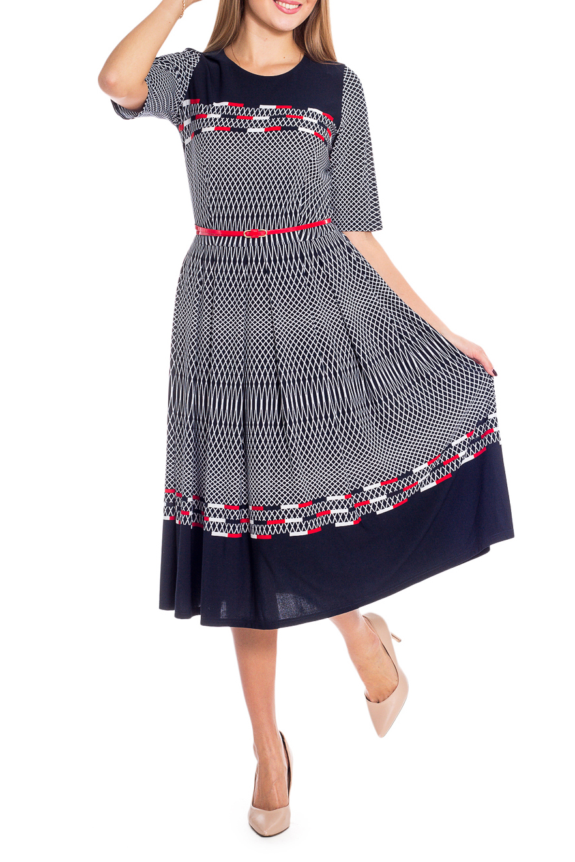 ПлатьеПлатья<br>Великолепное платье длиной миди с широкой юбкой, имеющей цветной рисунок — прекрасный выбор для праздничного вечера. Горловина круглая, рукава до локтя. Платье дополнено ремнем.  В изделии использованы цвета: синий, белый, красный  Рост девушки-фотомодели 170 см<br><br>Горловина: С- горловина<br>По длине: Миди<br>По материалу: Трикотаж<br>По рисунку: С принтом,Цветные<br>По силуэту: Приталенные<br>По стилю: Повседневный стиль<br>По форме: Платье - трапеция<br>По элементам: С поясом,Со складками<br>Рукав: До локтя<br>По сезону: Лето<br>Размер : 46<br>Материал: Холодное масло<br>Количество в наличии: 1