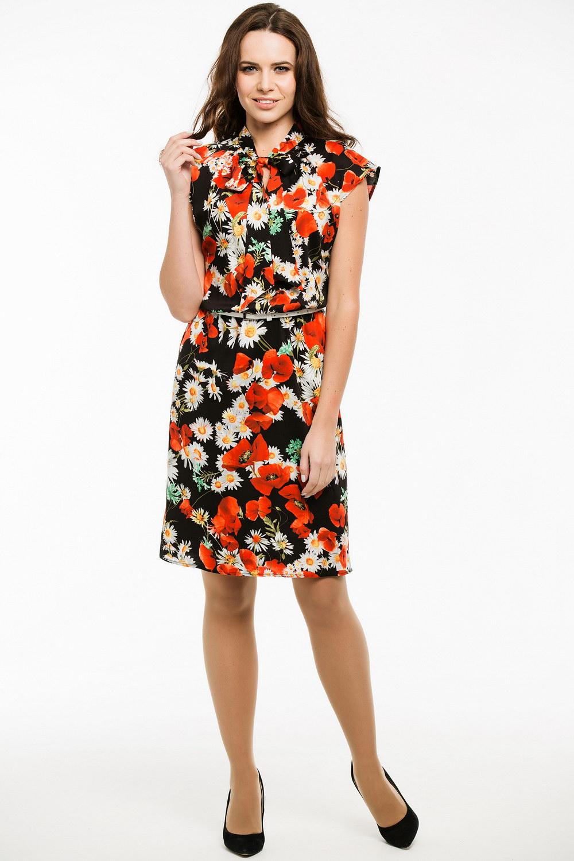 ПлатьеПлатья<br>Замечательное платье с цветочным принтом. Модель выполнена из приятного материала. Отличный выбор для любого случая. Платье без пояса.  В изделии использованы цвета: черный, красный, белый и др.  Ростовка изделия 170 см.<br><br>По длине: До колена<br>По материалу: Вискоза,Тканевые<br>По рисунку: Растительные мотивы,С принтом,Цветные,Цветочные<br>По сезону: Весна,Лето<br>По силуэту: Полуприталенные<br>По стилю: Повседневный стиль<br>Рукав: Без рукавов<br>Размер : 44,46,48,50,52<br>Материал: Вискоза<br>Количество в наличии: 9