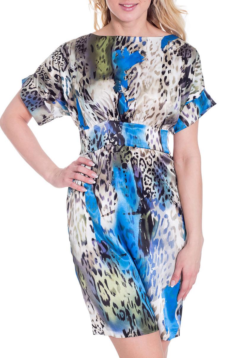 ПлатьеПлатья<br>Эффектное платье с цельнокроенными короткими рукавами. Модель выполнена из гладкого атласа с леопардовым принтом. Платье будет отличным дополнением в Вашем гардеробе.  Цвет: белый, голубой, зеленый, серый, черный  Рост девушки-фотомодели 170 см.<br><br>Горловина: Лодочка<br>По длине: До колена<br>По материалу: Атлас,Вискоза<br>По образу: Город,Свидание<br>По рисунку: Леопард,Цветные,С принтом<br>По сезону: Лето<br>По силуэту: Полуприталенные<br>По стилю: Летний стиль,Повседневный стиль<br>По форме: Платье - футляр<br>Рукав: Короткий рукав<br>Размер : 42,44<br>Материал: Атлас<br>Количество в наличии: 2