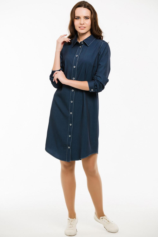 ПлатьеПлатья<br>Ультрамодное платье-рубашка с рукавами 3/4. Модель выполнена из приятного материала. Отличный выбор для повседневного гардероба.  Длина изделия по спинке в 42 размере 93 см.  Цвет: синий  Ростовка изделия 170 см.<br><br>Воротник: Рубашечный<br>По длине: До колена<br>По материалу: Тканевые<br>По рисунку: Однотонные<br>По силуэту: Прямые<br>По стилю: Кэжуал,Молодежный стиль,Повседневный стиль<br>По форме: Платье - рубашка<br>По элементам: Отделка строчкой,С манжетами<br>Рукав: Рукав три четверти<br>По сезону: Осень,Весна<br>Размер : 44,46,48,50<br>Материал: Плательная ткань<br>Количество в наличии: 4