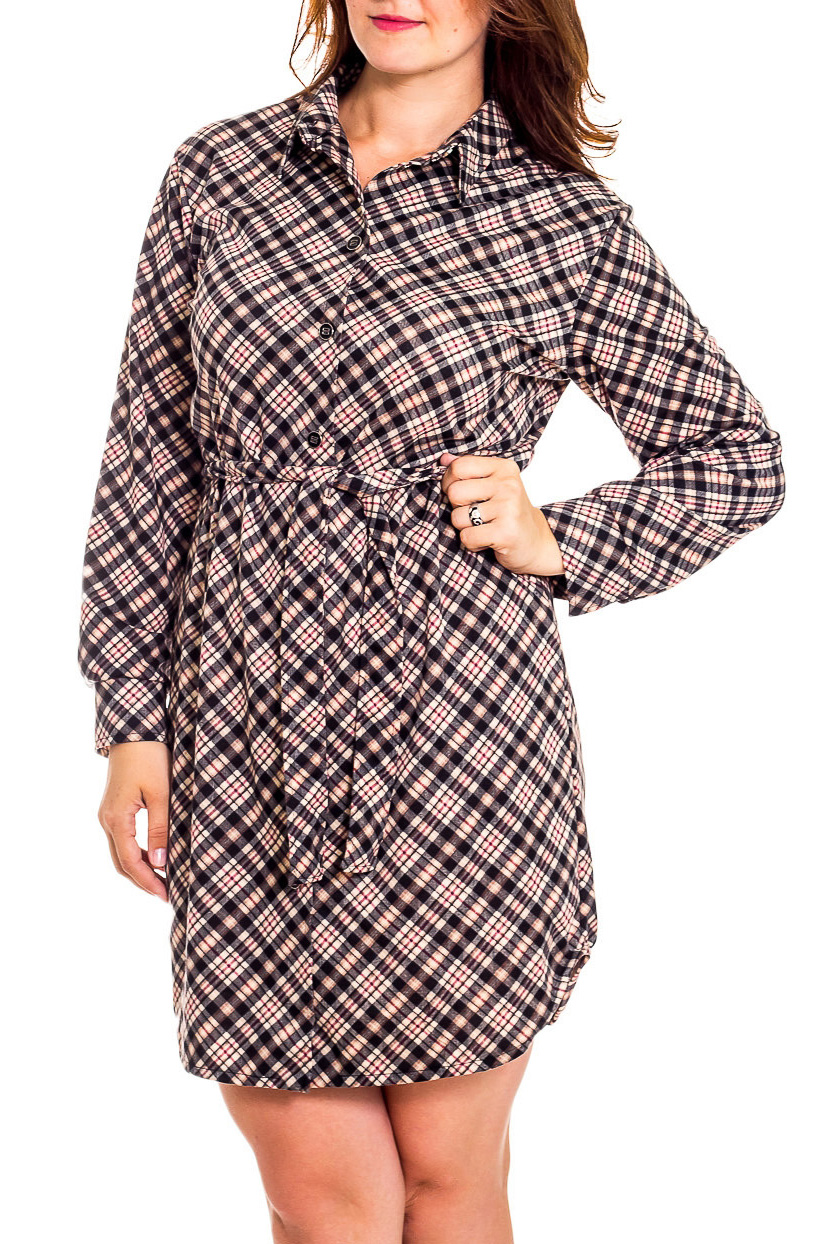 ПлатьеПлатья<br>Элегантное и женственное платье, которое подойдет любому типу фигуры, выполненное из приятного телу трикотажа. Длинные рукава на манжетах. Застежка - пуговицы.  В изделии использованы цвета: коричневый, черный и др.  Рост девушки-фотомодели 180 см<br><br>Воротник: Рубашечный,Стояче-отложной<br>По длине: До колена<br>По материалу: Трикотаж<br>По образу: Город,Офис<br>По рисунку: Цветные,В клетку<br>По силуэту: Полуприталенные,Прямые<br>По стилю: Классический стиль,Кэжуал,Офисный стиль,Повседневный стиль<br>По форме: Платье - рубашка<br>По элементам: С воротником,С декором,С манжетами,С пуговицами<br>Рукав: Длинный рукав<br>По сезону: Осень,Весна<br>Размер : 46,48<br>Материал: Трикотаж<br>Количество в наличии: 2