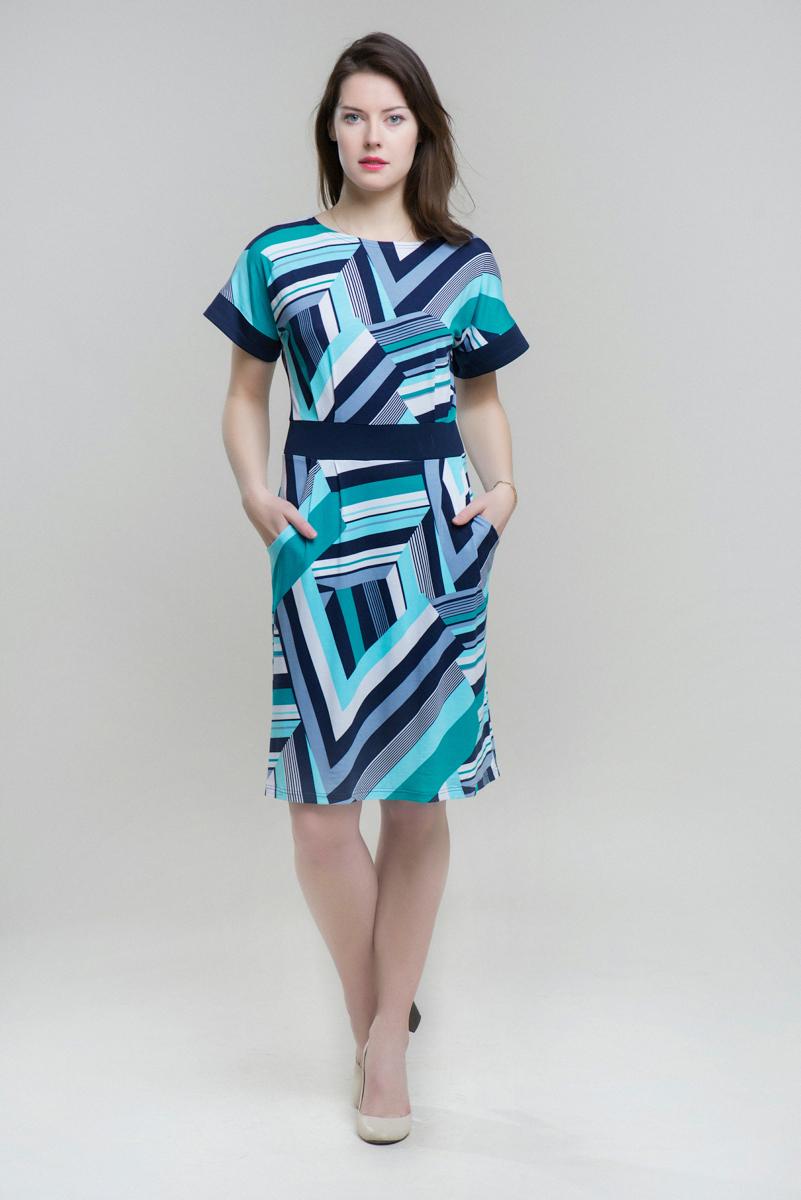 ПлатьеПлатья<br>Комфортное трикотажное платье со спущенной линией плеча из ткани с геометрическим орнаментом. Карманы на полочке. Контрастная отделка.  Длина изделия 97,5 см.  Длина рукава 16,5 см  Цвет: голубой, синий  Ростовка изделия 164-168 см  Параметры размеров: 46 размер - обхват бедер 99-102 см.; обхват груди 90-93 см 48 размер - обхват бедер 103-106 см.; обхват груди 94-97 см 50 размер - обхват бедер 107-110 см.; обхват груди 98-101 см 52 размер - обхват бедер 111-114 см.; обхват груди 102-105 см 54 размер - обхват бедер 115-118 см.; обхват груди 106-109 см 56 размер - обхват бедер 119-121 см.; обхват груди 110-113 см<br><br>Горловина: С- горловина<br>По длине: До колена<br>По материалу: Вискоза,Трикотаж<br>По образу: Город,Свидание<br>По рисунку: Геометрия,С принтом,Цветные<br>По силуэту: Полуприталенные<br>По стилю: Повседневный стиль<br>По форме: Платье - трапеция<br>Рукав: Короткий рукав<br>По сезону: Лето<br>Размер : 46,48,52<br>Материал: Трикотаж<br>Количество в наличии: 3