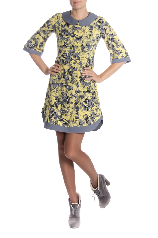 ПлатьеПлатья<br>Красивое женское платье с круглой горловиной и рукавами 3/4. Модель выполнена из плательной ткани с абстрактным принтом. Отличный выбор для любого случая.  Длина изделия: 44 размер 92 см 46 размер 92 см 48 размер 92 см 50 размер 92 см 52 размер 92 см 54 размер 92 см 56 размер 92 см  Длина рукава: 44 размер 41 см 46 размер 41 см 48 размер 42 см 50 размер 42 см 52 размер 42 см 54 размер 42 см 56 размер 42 см  Цвет: желтый, серый<br><br>Воротник: Отложной<br>Горловина: С- горловина<br>По длине: До колена<br>По материалу: Тканевые<br>По рисунку: Цветные,Растительные мотивы,С принтом,Цветочные<br>По сезону: Весна,Осень,Зима<br>По силуэту: Полуприталенные<br>По стилю: Повседневный стиль<br>Рукав: Рукав три четверти<br>По форме: Платье - трапеция<br>Размер : 44,46<br>Материал: Плательная ткань<br>Количество в наличии: 2