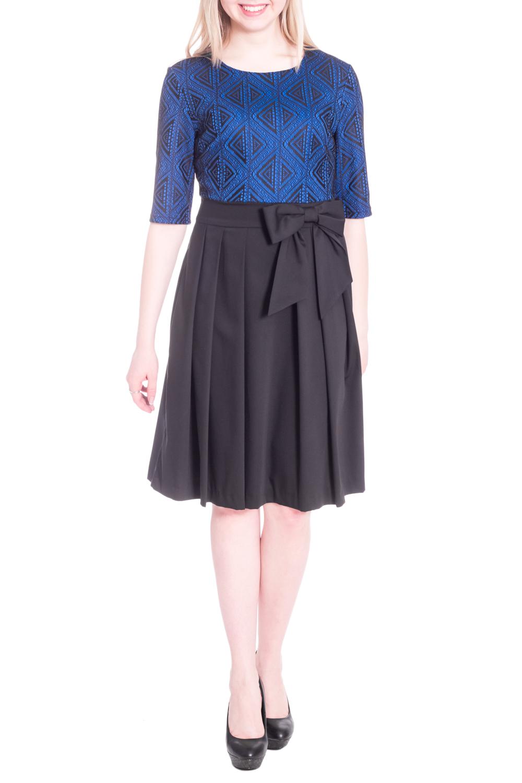 ПлатьеПлатья<br>Цветное платье с имитацией блузки и юбки. Модель выполнена из приятного материала. Отличный выбор для любого случая.  В изделии использованы цвета: синий, черный  Рост девушки-фотомодели 170 см<br><br>Горловина: С- горловина<br>По длине: Ниже колена<br>По материалу: Костюмные ткани,Тканевые<br>По рисунку: Цветные<br>По силуэту: Приталенные<br>По стилю: Нарядный стиль,Повседневный стиль<br>По форме: Платье - трапеция<br>По элементам: С декором,Со складками<br>Рукав: До локтя<br>По сезону: Осень,Весна<br>Размер : 46,48,52<br>Материал: Костюмно-плательная ткань<br>Количество в наличии: 3