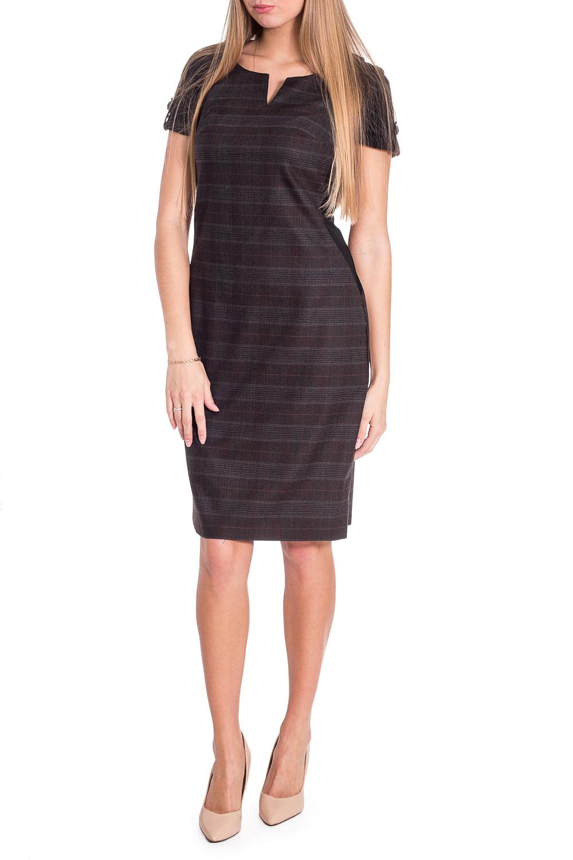 СарафанПлатья<br>Универсальное платье с фигурной горловиной и короткими рукавами. Модель выполнена из приятного материала. Отличный выбор для повседневного и делового гардероба.  В изделии использованы цвета: коричневый, серый и др.  Рост девушки-фотомодели 170 см<br><br>Горловина: Фигурная горловина<br>По длине: До колена<br>По материалу: Тканевые,Трикотаж<br>По рисунку: В клетку,С принтом,Цветные<br>По силуэту: Полуприталенные<br>По стилю: Офисный стиль,Повседневный стиль<br>По форме: Платье - футляр<br>По элементам: С патами<br>Рукав: Короткий рукав<br>По сезону: Осень,Весна<br>Размер : 44,46,48<br>Материал: Трикотаж + Плательная ткань<br>Количество в наличии: 3