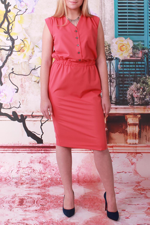 ПлатьеПлатья<br>Великолепное платье без рукавов с небольшим напуском в районе талии. Модель выполнена из приятного материала. Отличный выбор для любого случая.   В изделии использованы цвета: коралловый  Ростовка изделия 164 см.<br><br>Горловина: V- горловина<br>По длине: Ниже колена<br>По материалу: Тканевые<br>По рисунку: Однотонные<br>По сезону: Весна,Лето<br>По силуэту: Полуприталенные<br>По стилю: Летний стиль,Повседневный стиль<br>По элементам: С отделочной фурнитурой,С пуговицами<br>Рукав: Без рукавов<br>Размер : 44,46,48,50,52<br>Материал: Плательная ткань<br>Количество в наличии: 5