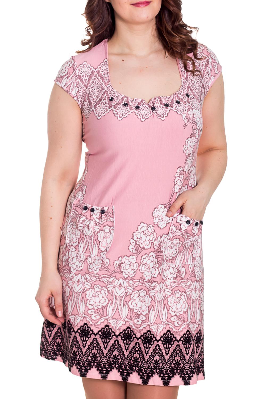 ПлатьеПлатья<br>Яркое платье с круглой горловиной и короткими рукавами. Домашняя одежда, прежде всего, должна быть удобной, практичной и красивой. В наших изделиях Вы будете чувствовать себя комфортно, особенно, по вечерам после трудового дня.  Цвет: розовый, белый, черный  Рост девушки-фотомодели 180 см.<br><br>Горловина: С- горловина<br>По длине: Миди<br>По материалу: Вискоза,Трикотажные<br>По рисунку: Растительные мотивы,С принтом (печатью),Цветные,Цветочные<br>По сезону: Весна,Осень<br>По силуэту: Полуприталенные<br>По стилю: Повседневные,Романтические<br>По форме: Платья<br>По элементам: С декором,С карманами<br>Рукав: Короткий рукав<br>Размер : 46,48,50,52<br>Материал: Вискоза<br>Количество в наличии: 21